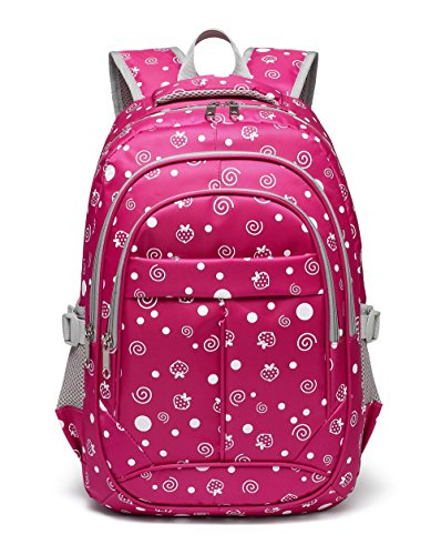 Strawberry and Dots Printed kids Backpack for Girls Children Schoolbag (Rose Red) by BLUEFAIRY