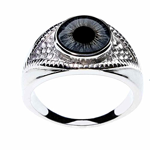 - Steel Dragon Jewelry Unisex Blue Glass Eye Ring in an Eye-Shaped Stainless Steel Setting by (Blue Human, 12)