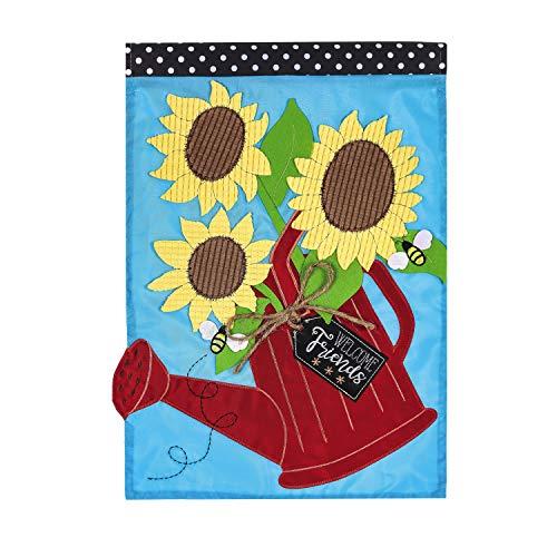 (Evergreen Flag Sunflower Watering Can Applique Garden Flag)