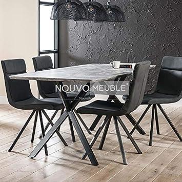 M 001 Table A Manger Moderne Effet Beton Nine 2 Amazon Fr
