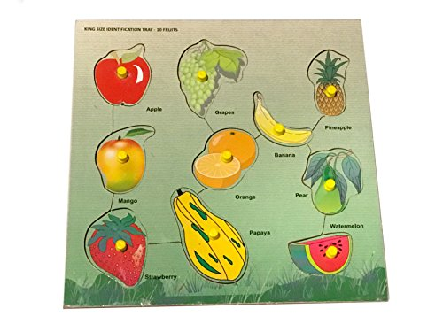 Body Puzzle Wood (Mojopanda 10 Fruits Name with Knobs Multicolour Kids Peg Puzzle Games, Handcrafted Educational Toy)