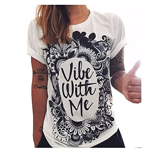 Women's Summer Short Sleeve Graphic Print Cotton T Shirt Tops (XL)