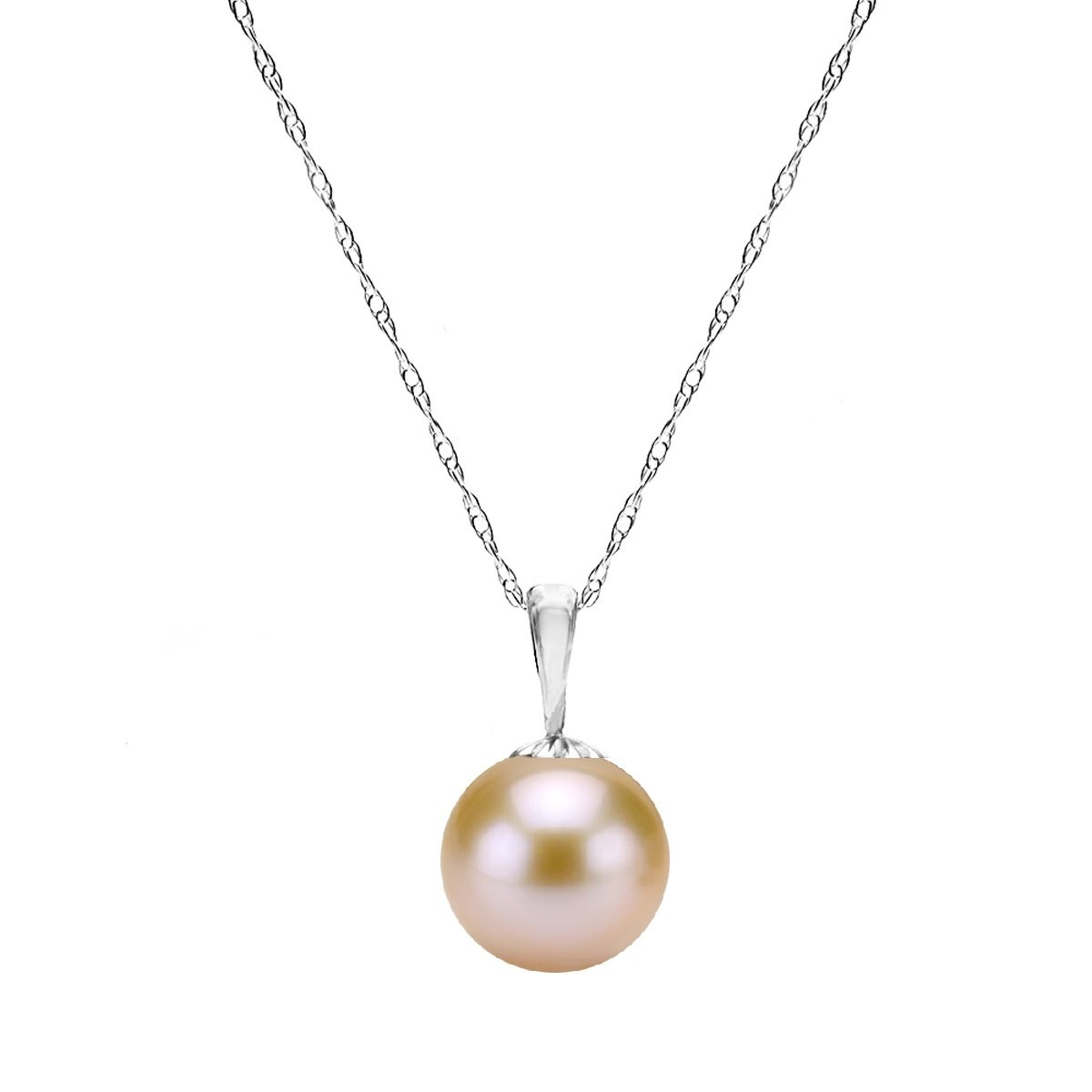 14K White Gold Pink Freshwater Cultured Pearl Necklaces for Teen Girls Pendant 18 inch