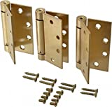 Stanley Hardware 2060R 4-1/2'' X 4-1/2'' Heavy Duty Automatic Self Closing Spring Hinges Square Corners in - Pack Of 3 - (Satin Brass)