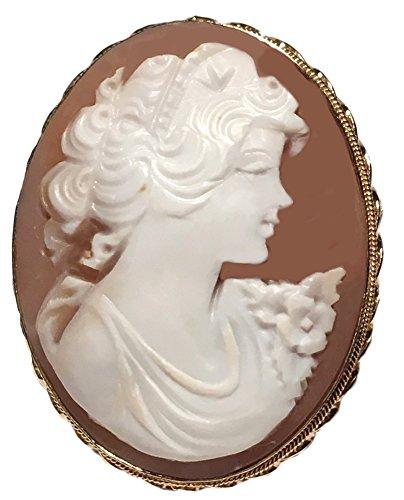 Cameo Brooch 18k (Cameo Brooch Pendant Master Carved, Autumn Love, Sterling Silver 18k Gold Overlay Sardonyx Shell Italian)