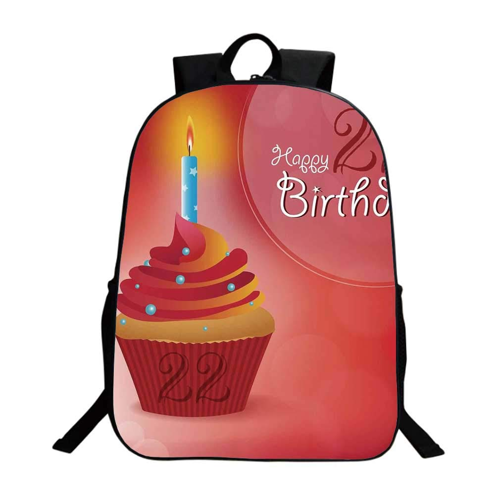 22nd Birthday Decorations Multifunction School Bag,Cute Cupcake with Candles Romantic Celebration Illustration For school,One_Size