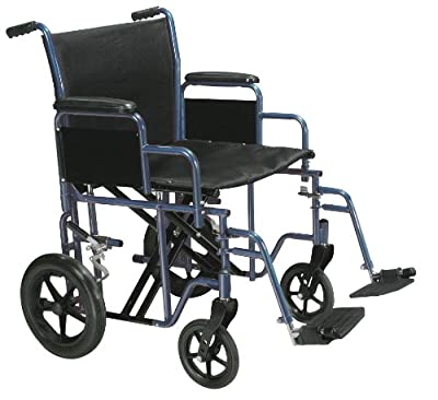 Drive Medical Bariatric Heavy Duty Transport Wheelchair with Swing-Away Footrest, Blue, 20 Inch