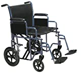 Drive Medical Bariatric Heavy Duty Transport Wheelchair with Swing-away Footrest, Blue, 20''