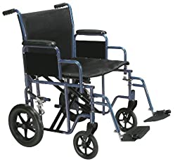 Drive Medical Bariatric Heavy Duty Transport Wheelchair with Swing-away Footrest, Blue, 22\