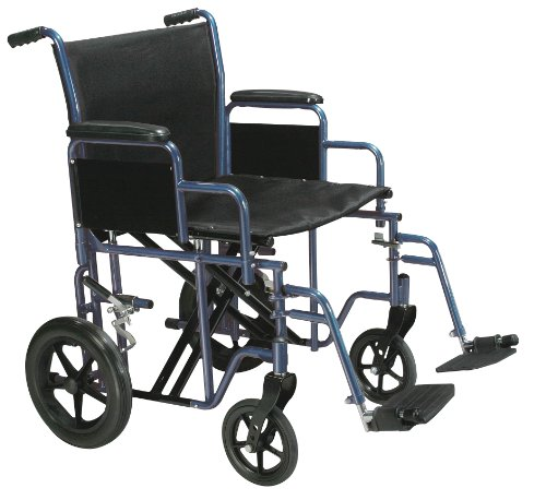 Drive Medical Bariatric Heavy Duty Transport Wheelchair with Swing-away Footrest, Blue, 22