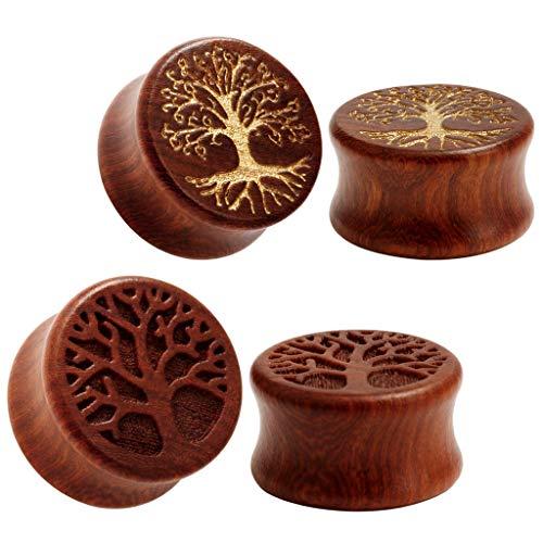 (TBOSEN 2 Pairs Set Tree Of Life Organic Wood Tunnels Double Flared Ear Stretcher Saddle Plugs)