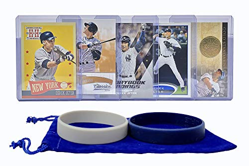 Derek Jeter Baseball Cards (5) ASSORTED New York Yankees Trading Card and Wristbands Gift Bundle