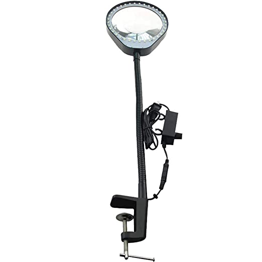 BLEN Lupa de Mesa con el Clip 8X - Ajustable de luz LED Iluminado ...