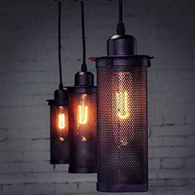Retro Hanging Pendant Light E27 With Black Iron Mesh Lampshade,Rustic Ceiling Pendant Light Kit For Hall, Entrance, Bedroom, Living Room