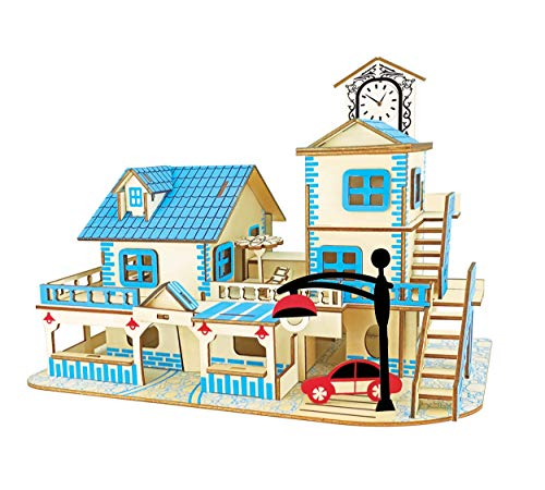 Natural Wood 3D Puzzle Tiny House Collection Wooden Jigsaw Craft Building Set (Charming Aegean Sea)