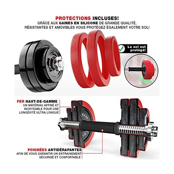 Sportstech 2 en 1 avec Couvercle en Silicone AH300- Ensemble d'haltères Courte/Longue, Musculation réglable en Fonte de…
