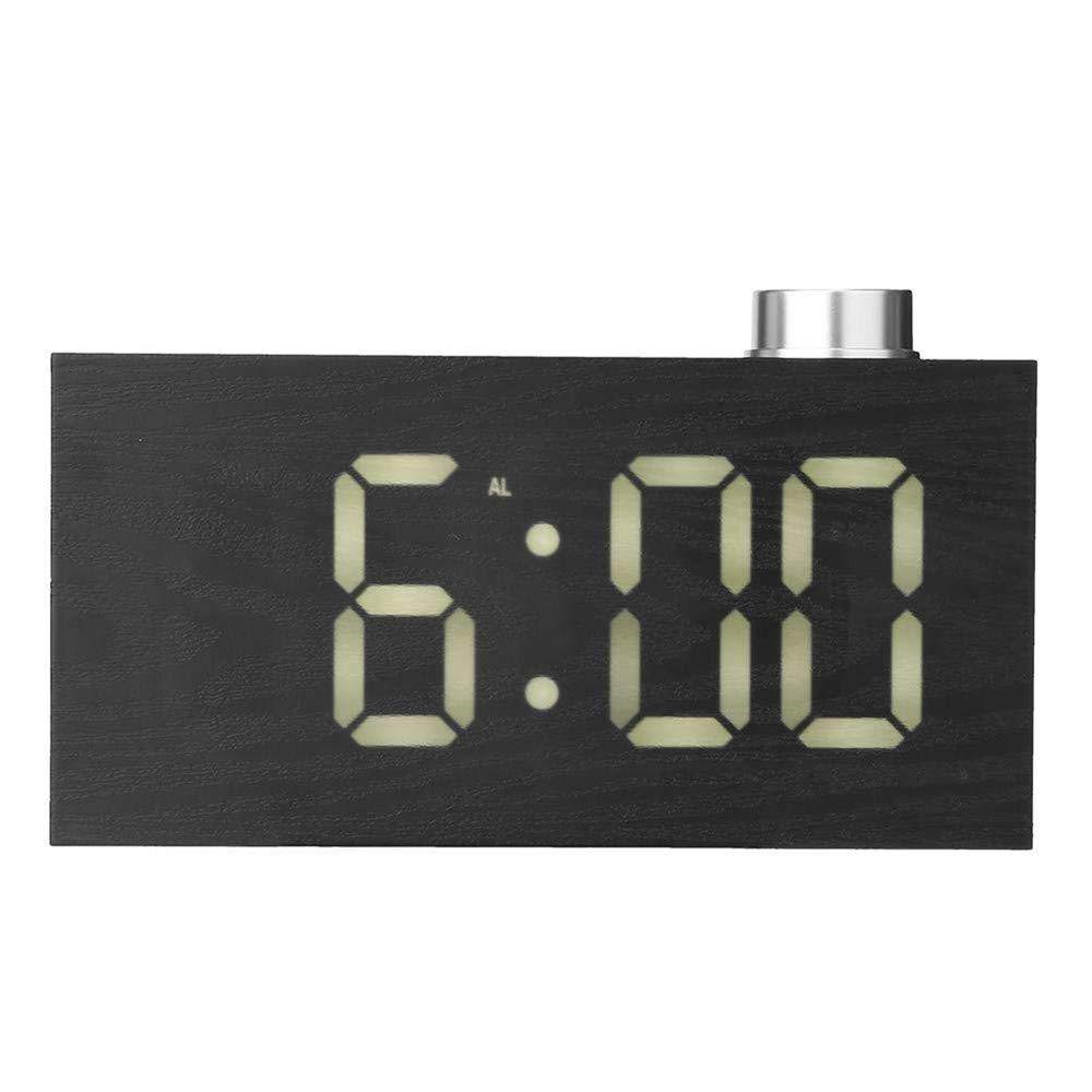 Digital LED Alarm Clock, YiMiky LED Display Wood Grain Clock Adjustable Brightness Electronic Alarm Clock Temperature C/F Display Snooze for Kids Adults Heavy Sleepers - White