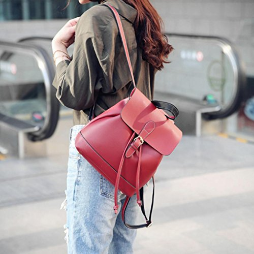 Travel Red Vintage Rucksack Faux Backpack Bag Shuohu Leather Buckle Women's Decor Shoulder zPqPwx1C