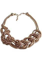Kenneth Jay Lane Polished Gold Plated Knotted Double Row Snake Chain Necklace