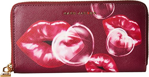 Marc Jacobs Women's Printed Lips Saffiano Standard Continental Wallet Dark Lipstick Multi One Size by Marc Jacobs