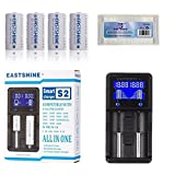 EASTSHINE Universal Battery Charger & E07 16340 Battery, S2 LCD Display Speedy Smart Charger for Rechargeable Batteries Ni-MH Ni-Cd AA AAA Li-ion LiFePO4 IMR 10440 14500 16340 18650 RCR123 26650