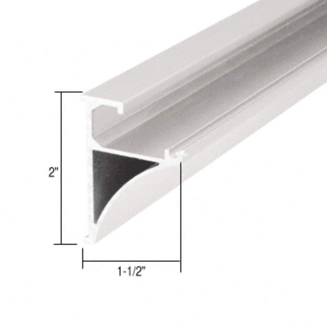 C.R. LAURENCE SE1496W CRL White 96 Aluminum Shelving Extrusion for 1/4 Glass by C.R. Laurence