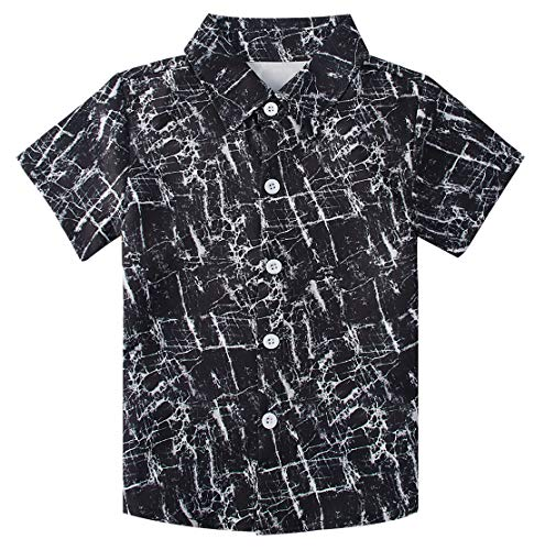 RAISEVERN Big Boy's Dress Shirt Cute Black Button Down Short Sleeve Cartoon Tropical Black-White Lightning Beach Top Kids Cool Hawaiian - Boys Dress Black