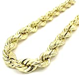 10K Yellow Gold Men's 5MM Diamond Cut Rope Bracelet Lobster Clasp, 8 Inches