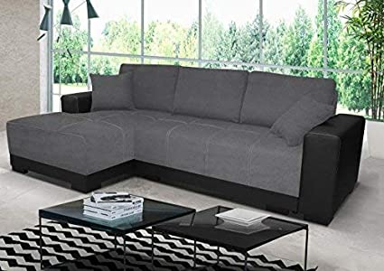 Honeypot Furniture Cimiano Corner Sofa Bed Faux Leather Fabric Black Grey Left Hand
