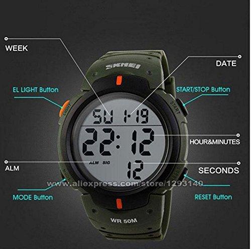 Skmei BIBER 1058-Reloj de pulsera con pulsómetro digital, unisex, Impermeable hasta 50 m: Amazon.es: Deportes y aire libre