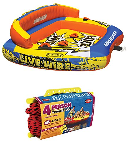 AIRHEAD AHLW-3 Live Wire 3 Inflatable 1-3 Rider Towable Tube w/ 60ft Tow Rope