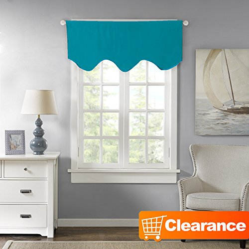 H.Versailtex Blackout Curtain/Window Scallop Valances with Rod Pocket Top - 58x17-Inch in Turquoise Blue (Aqua Curtains Brown And Window)