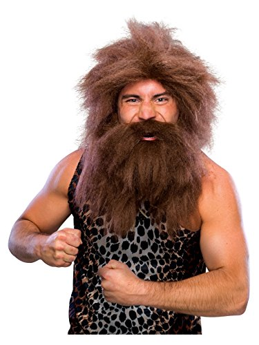 Rubie's Characters Caveman Beard and Set Wig, Brown, One Size -