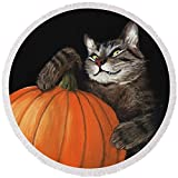 Pixels Round Beach Towel With Tassels featuring ''Halloween Cat'' by Anastasiya Malakhova
