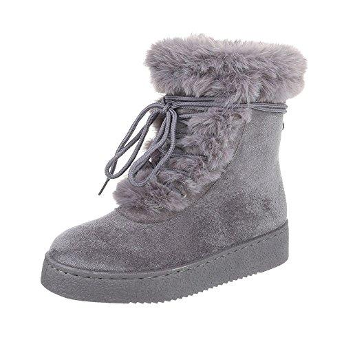 Zapatos para mujer Botas Plano Classic Botines Ital-Design Gris