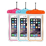 [3pack]Waterproof Seal Case Compatible With iPhone 8,8plus,7,7plus,6,6s plus, Samsung, HTC, Sony, Nokia - Most Phones/iPods Up To 5.8-Inch Clear Transparent Dry-Bag-Pouch (Orange+ Pink+Blue)