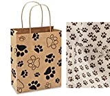 Paw Print Gift Bag Set Set of 5 gift bags with paw print tissue paper (5)