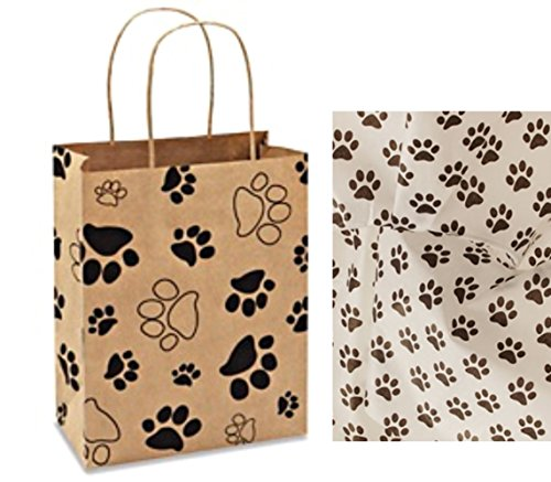 Paw Print Gift Bag Set Set of 5 gift bags with paw print tissue paper (5) by Chalkallaboutit
