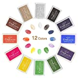#5: Ink Pad Stamps, Ubegood Stamp Pad DIY 12 Colors Crafts Ink Pads for Kid's Rubber Stamp Scrapbooking Card Making Beautiful Water-Soluble Colors-Pack of 12