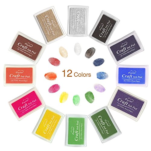 Ink Pad Stamps, Ubegood Stamp Pad DIY 12 Colors Crafts Ink Pads for Kid's Rubber Stamp Scrapbooking Card Making Beautiful Water-Soluble Colors-Pack of 12
