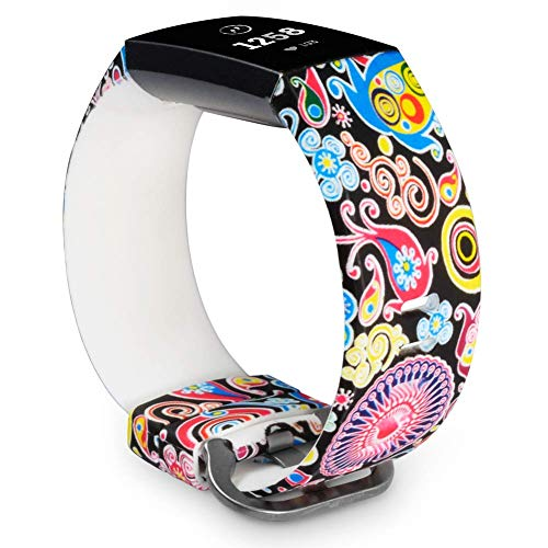 Allbingo Cute Bands Compatible with Fitbit Charge 3 & Charge 3 SE, Women Men Floral Replacement Strap Accessories Wristband Small Large for Fitbit Charge 3