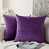 Purple Throw Pillows MIULEE Pack of 2, Velvet Soft Soild Decorative Square Throw Pillow Covers Set Cushion Case for Sofa Bedroom Car 18 x 18 Inch 45 x 45 cm