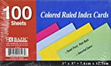 "BAZIC 100 Ct. 3"" X 5"" Ruled Colored Index Card"