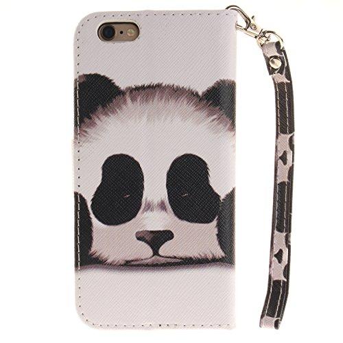 Für iphone 6 6S Hülle Leder ,SKYXD Netter Panda Muster Klapphülle PU Folio Ledertasche Schutzhülle Trageschlaufe Magnetverschluss Kartenfächer Brieftasche Standfunktion Handyhülle mit [Eule Staubsteck