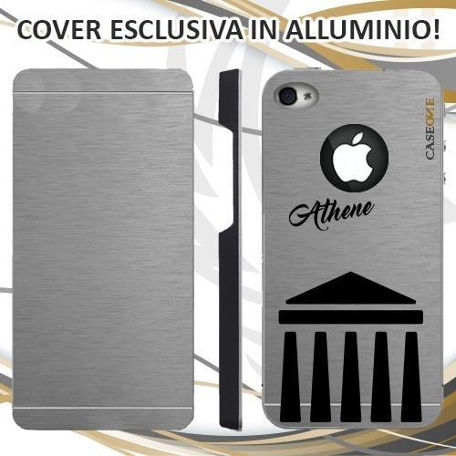 CUSTODIA COVER CASE ATHENE PARTHENON PER IPHONE 4 ALLUMINIO TRASPARENTE