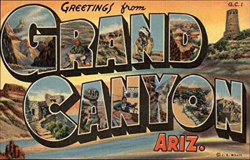 Canyon Greeting Cards - Greetings from Grand Canyon Grand Canyon National Park, Arizona Original Vintage Postcard