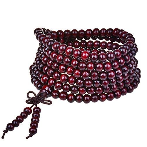 eYourlife2012 Tibetan 216pcs Rosewood Prayer Buddha Mala Buddhist Bracelet Pendant Necklace ()