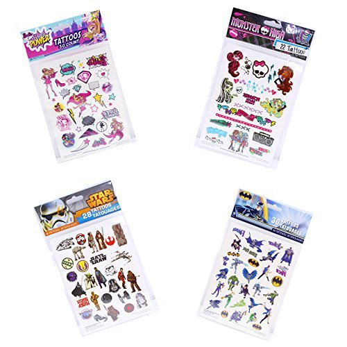 Pack of 110 Licensed Temporary Tattoos, Star Wars, Batman, Princess Power, Monster High (Star Wars Tattoos)