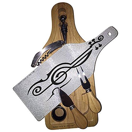 (Treble Clef Violin Wine & Cheese Set Glass Cutting Board)