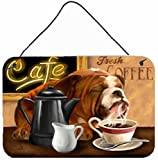 Caroline's Treasures PTW2061DS812 English Bulldog Morning Coffee Wall or Door Hanging Prints, 8 x 12